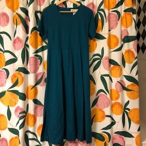 Orvis turquoise teal linen rayon blend maxi dress